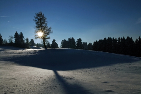 The sun sets behind a snowy landscape