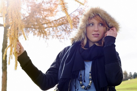 self discovery: girl On a cold autumn day Stock Photo