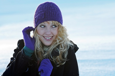 self discovery: A happy smiling in winter Stock Photo
