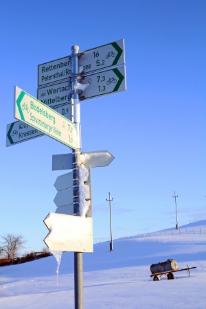 Sign in wintry Bavaria