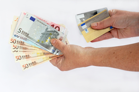 Cash or credit card Stock Photo