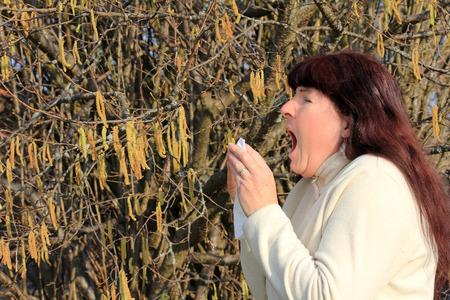 sufferer: hay fever allergy in the spring