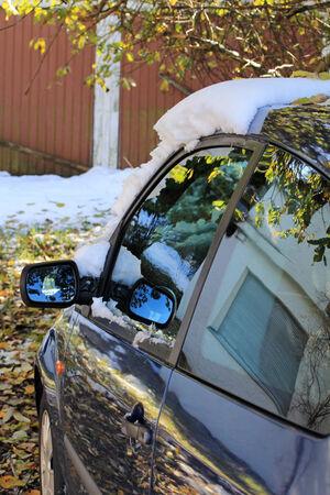 snow on car