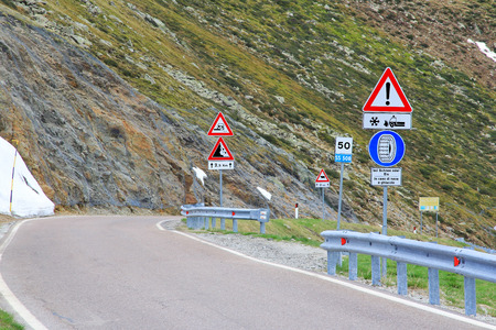 Road signs in the mountains photo