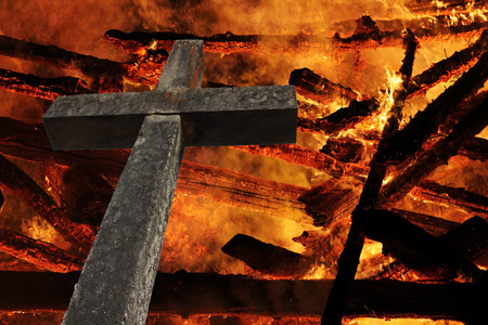 The cross in front of the fire