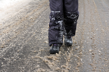 slush: Slush on the road Stock Photo