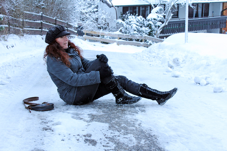 accident damage: winter accidents on slippery roads Stock Photo