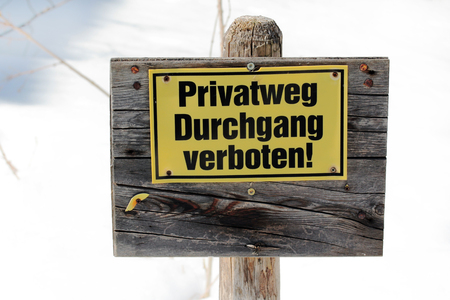 unconstitutional: Private label - Through banned! Sign on private property