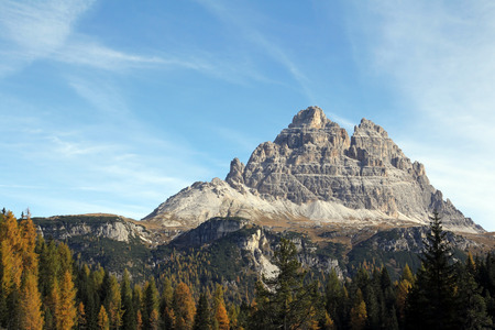 crenellated: The Three Peaks in the Dolomites (Italy). South side of the Three Peaks, the famous mountains in the Dolomites