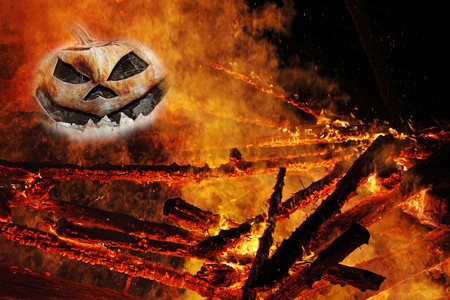 pumpkin head: A creepy pumpkin head in the fire. From pumpkin head in flames