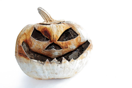 pumpkin head: An old creepy pumpkin. A creepy pumpkin head for Halloween Stock Photo