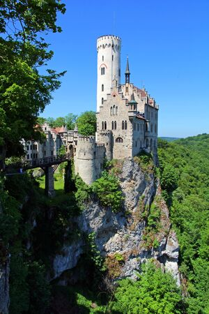 The Lichtenstein castle in BadenWrttemberg. The fairytale castle Wrttemberg Редакционное