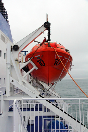 Lifeboat on a ferry. Lifeboat on a passenger ship Stock Photo