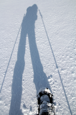 snowshoe: The shadow of a snowshoe runner in the snow Stock Photo