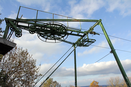 ski lift: T-bar or bar-end lift-off at an old ski lift