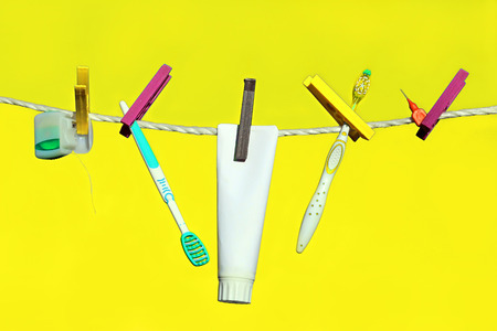 tongue cleaner: The perfect range of dental care and dental hygiene Stock Photo