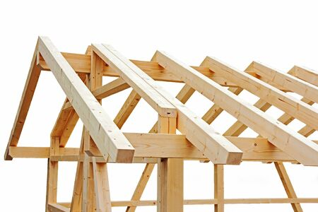 rafters: The shell with a small wooden house roof or a wooden garage