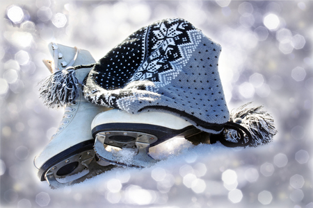 winter sports: Skating - a popular winter sports. Skates in the snow