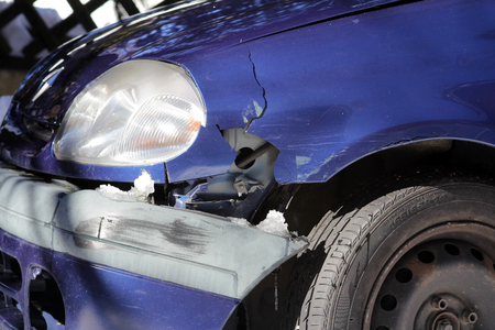 write off: A traffic accident - car accident on the road