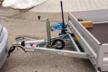 Trailer hitch with trailer on a car Фото со стока - 59237805