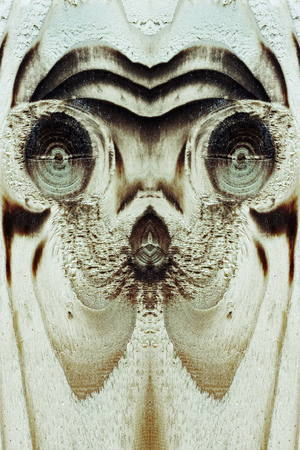 exceptionally: The aliens, weird or animal face in the wooden board Stock Photo