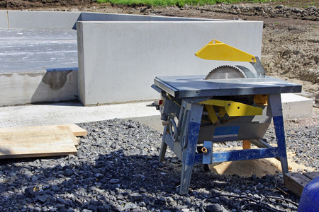saw blade: Table saw with saw blade at a construction site Stock Photo