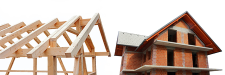 differed: A shell made of wood and brick. Newly Built House in wood and stone