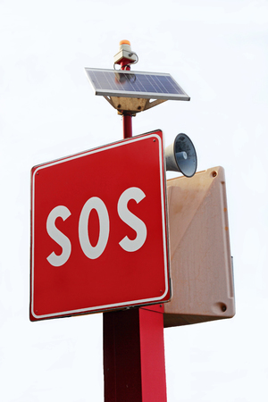 call for help: SOS sign and call for help in the harbor. SOS sign for quick help