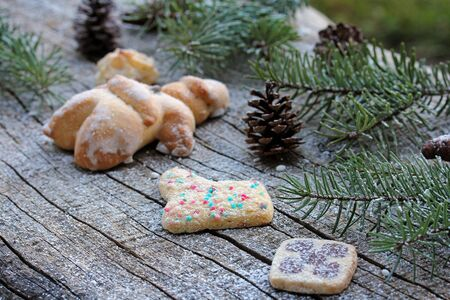 Baked Santa Claus and biscuit. Christmas decoration Stock Photo