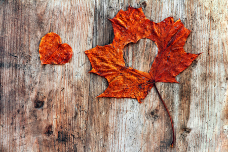 Autumn love - A red autumn sheet with heart on a wooden subsoil Stock Photo