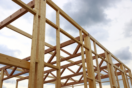 moulder: New construction of a wooden house. Modern wood construction Stock Photo
