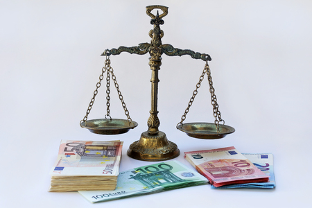 A scales and many euro notes