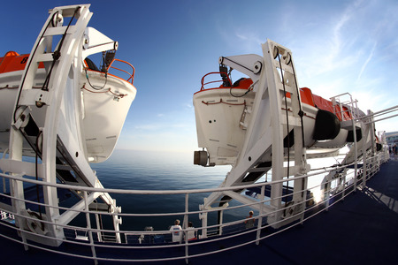 Wide angle view of rescue boats on a ferry. Rescue boats on a passenger ship