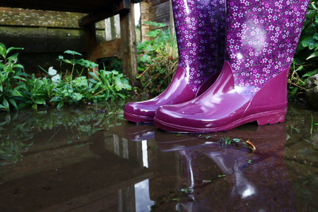 Rubber boots are perfectly suited for wet and rainy weather Stock Photo