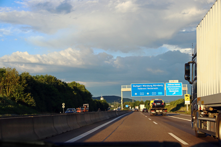 Driving on a German motorway. Overtaking on the highway
