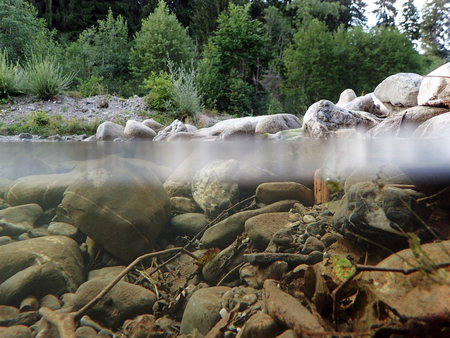 Underwater and surface water absorption from a stream. The Wertach river under and over water