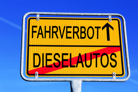 Road sign driving for diesel cars in Germany. Diesel ban symbol