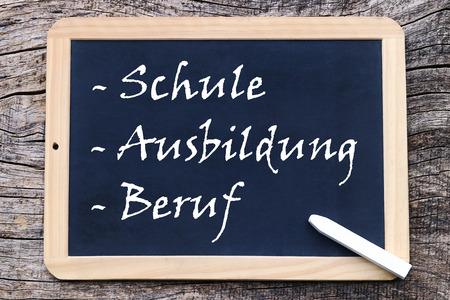 On a blackboard is written - school - education - profession