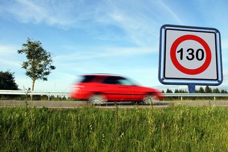 Speed limit on Germanys roads. Speed limit of 130 on German motorways Stok Fotoğraf