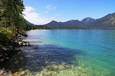 The Walchensee in Bavaria is one of the largest alpine lakes in Germany. 스톡 콘텐츠