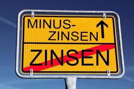 Sign minus interests, bank interests or negative interests of private banking