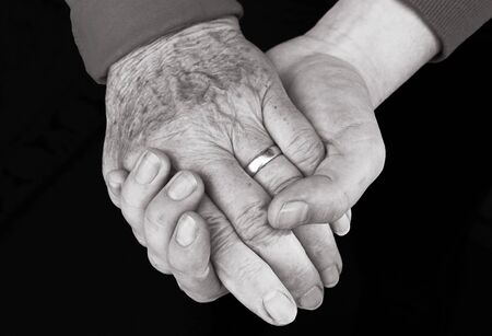 A helping hand in old age is important. Help and care in old age Фото со стока - 134270606