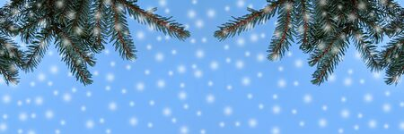 Christmas background fir branches and snow flakes against the blue sky Фото со стока - 135147466