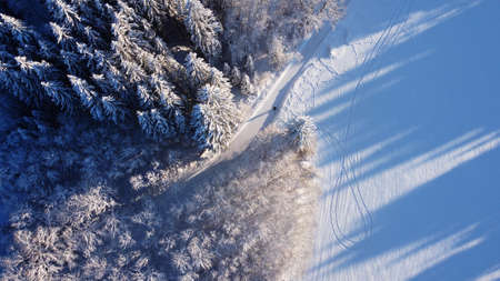 Aerial drone shot of snowy forest path in winter in Bavaria