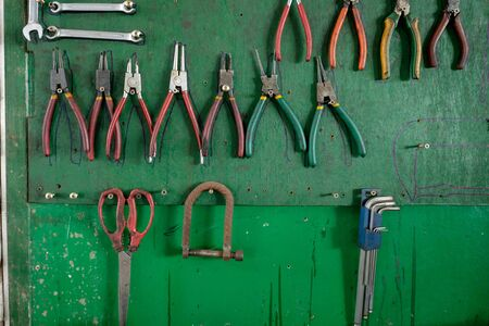 forced: Set of often used tools in garage