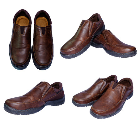second hand: second hand brown leather shoes for men  in isolated