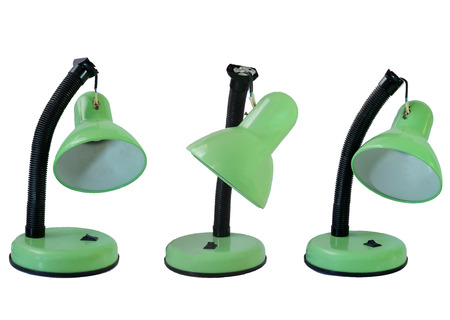 tumble down: set of old broken green table lamp in isolated Stock Photo
