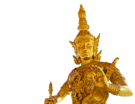vedas: golden Catummaharajika Hindu God in isolated
