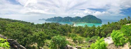 Panoramic shot showing Phi-Phi Don island in Thailand