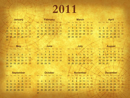 Old paper calendar 2011 with polar grid
